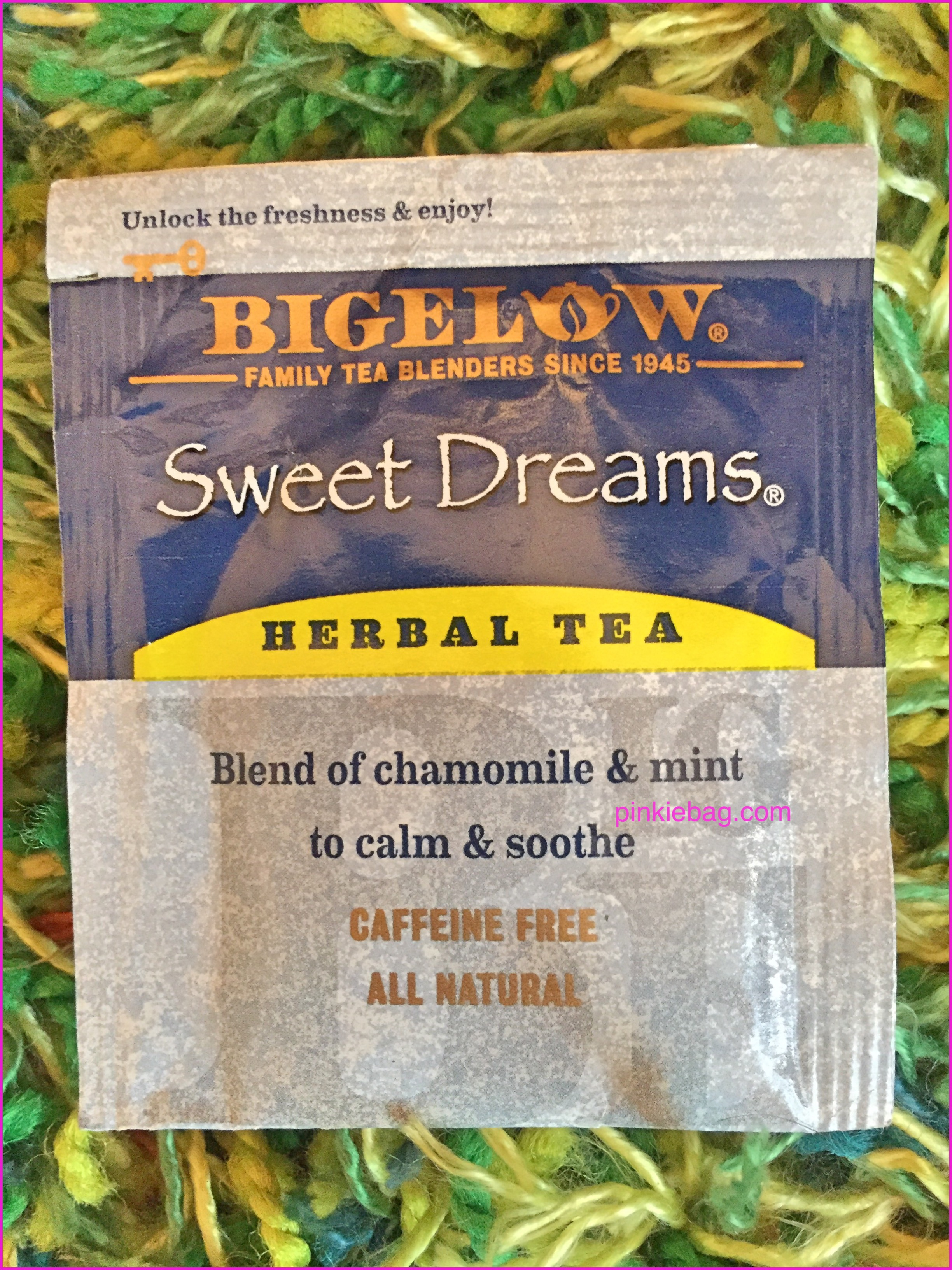 Bigelow herbal tea - Now Onto The Tea Itself I Liked The Simplicity Of The Packaging With The Grey Colour With A Dark Blue Strip Scheme To The Top With Sweet Dreams To The